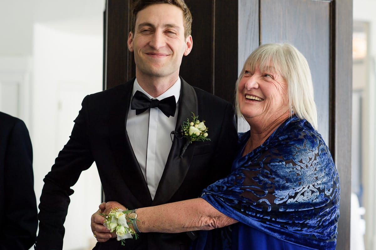 Groom and his mom before the ceremony at Lake Louise